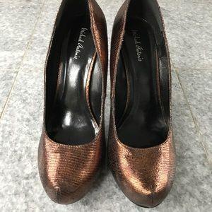 Bronze platform high heels